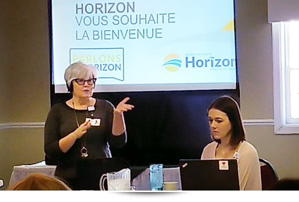 Carol addressing the stakeholders at a Horizon Health Network strategic planning session.